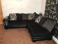 Black L-shaped sofa and 2 seater sofa black