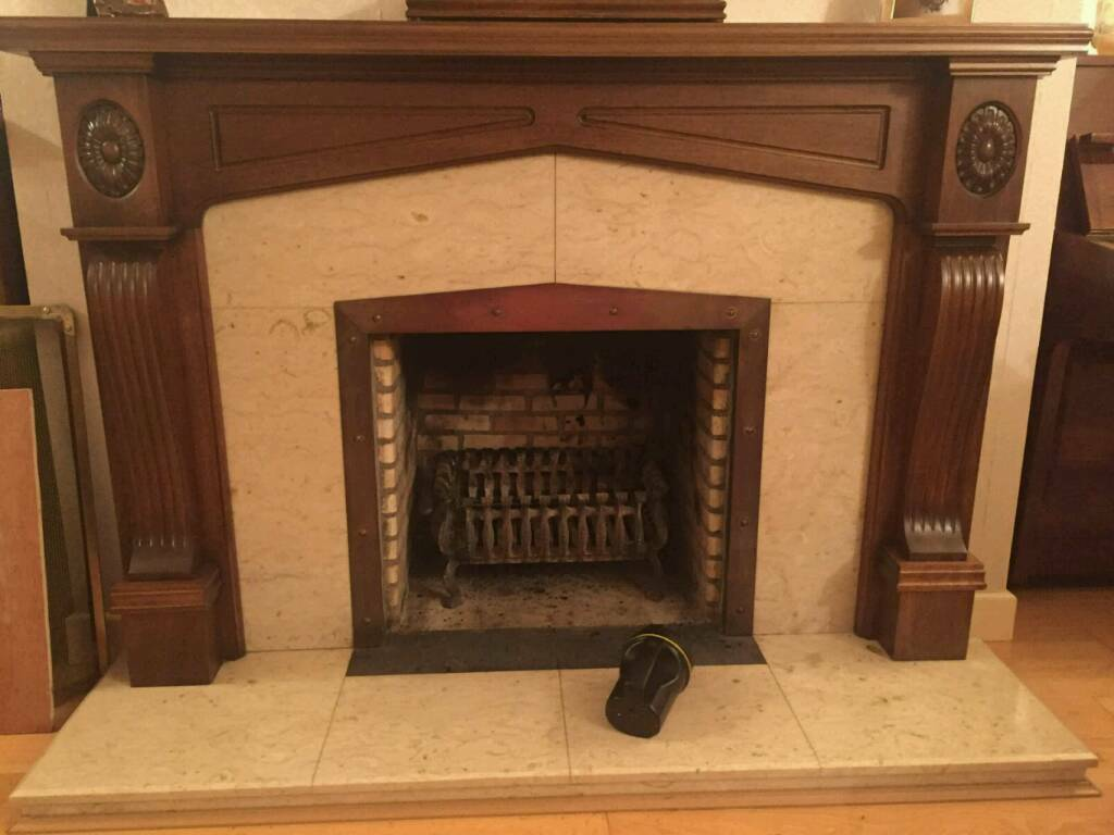 Solid marble fireplace mahogany mantle piece and surround