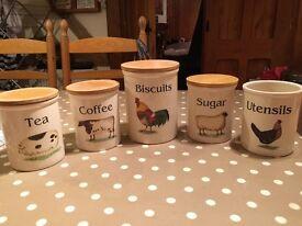 Set of 5 Cloverleaf kitchen storage jars with farmyard pattern