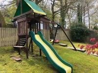 Play frame swings and slide set