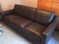 3 Seat quality Sofa, brown leather with brushed stainless legs