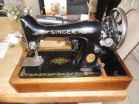 VINTAGE SINGER SEWING MACHINE AND CARRY CASE, BOOKS