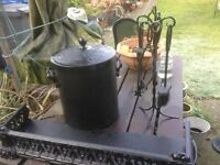 VINTAGE VICTORIAN CAST-IRON FIRE FENDER,COAL BUCKET AND COMPANION SET