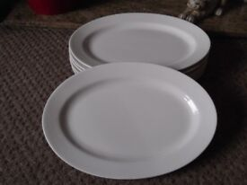 x6 Large White Oval Plates - As New.