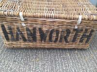 Antique Large thick cained wicker storage box/crate/ basket