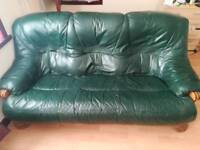 3 seater Green leather couch