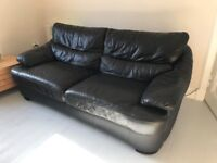 Cozy sofa in leatherette dark brown 2/3 seats