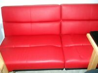 Sofa bed red faux leather