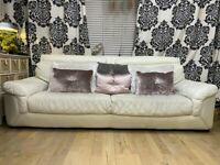 Cream Leather Sofa Large Three Seater Head Rest Cushion