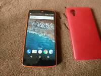 Unlocked Nexus 5 red with case
