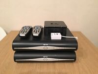 2 Sky Plus HD boxes, 2 remotes, wifi router with microfilter phoneline cable