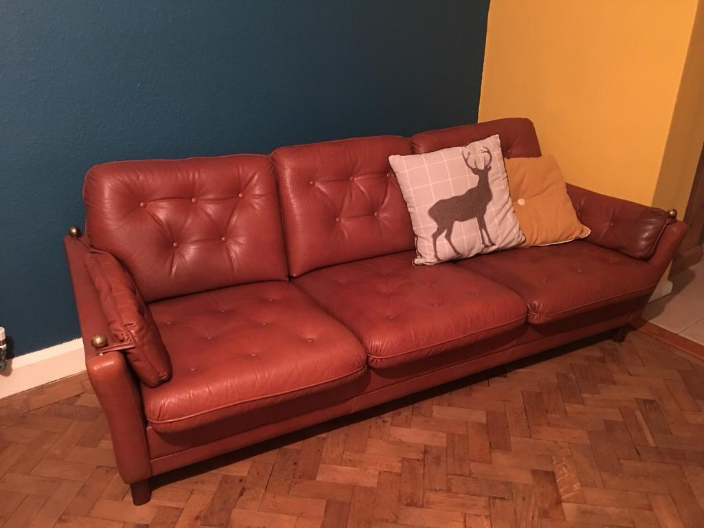 Danish vintage retro leather 3 seater sofa