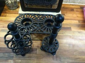 Black Wrought iron kitchen set - egg holder, kitchen roll holder and food warmer