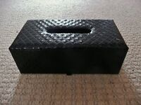 Black Glossy Patterned Plastic Type Coating Tissue / Paper Handkerchiefs Box Holder Home Office