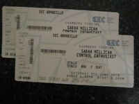 2 Sarah Millican Tickets, Front Stalls, Row F, Sat 9th June, SEC Armadillo, Glasgow.