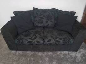 Two/Three seater sofa, black with grey/silver pattern