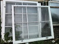 Wooden window frames with glass different sizes