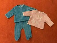 3 piece set - vertbaudet baby velour tops and trousers set - Reindeer and wood animals 0-1months