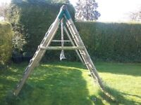 2 swings and wooden climbing wall