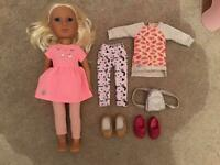 Girls doll and clothes set