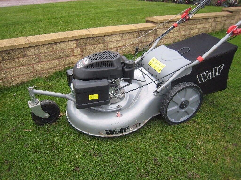 Wolf GT3 Petrol Lawnmower Self Propelled 3 Wheeled Easy Turn Fully Serviced 6.5Hp Engine 55cm Cut