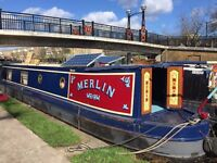 Merlin narrow boat with residential mooring in Limehouse basin