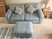 Three seater duck egg blue sofa and matching storage foot stool