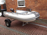 3 meter Suzumar dingy, 3.3 Mariner outboard, galvanised trailer £675.00
