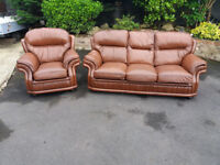 Leather two piece suite, three seater, couch, soda, settee, single chair (free local delivery)
