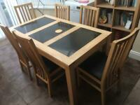 Light Oak Table with Black granite