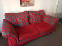 DFS 3 Piece Suite - Red & Gray - 1 x sofa & 2 x matching armchairs