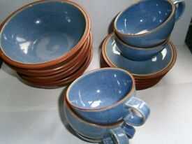 Denby Juice in Berry bowls, saucers and teacups, all excellent condition