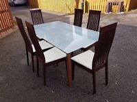 Ikea Frosted Glass & Solid Wood Dining Table & 6 Calligaris Chairs FREE DELIVERY 0197