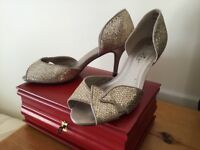 Worn once - Lunar Size 6 Gold Glitter Christmas Party Shoes
