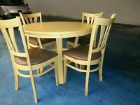 Solid oak round dining table and 4 oak chairs ( item 5 )