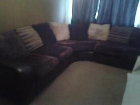 Large brown and cream corner sofa