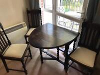 Oval Folding Table and 3 Chairs