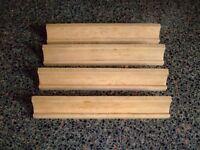 4 x Vintage Wooden Authentic Scrabble Tile Racks