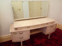 *** VINTAGE RETRO 1960'S KNEEHOLE VANITY DRESSING TABLE ***