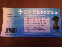 Two Ed Sheeran tickets - standing