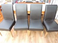 4 x Faux Brown leather high back chairs ,sturdy ,ok to use benefit from recover - upcycle , recycle