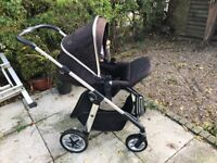 Silver Cross Pioneer Black Pram and Stroller with Car Seat and Isofix Base