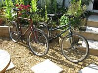 2 VINTAGE MOUNTAIN BIKES RALEIGH OLD SCHOOL MATCHING PAIR LADIES & GENTS CYCLES