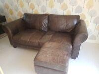 Brown leather sofa and storage box