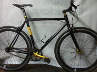 RRP £249 Mens Black & Gold Single Speed Fixie with Flip-Flop Hub