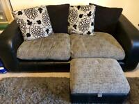 3 Seater Sofa & Armchair with Puffee