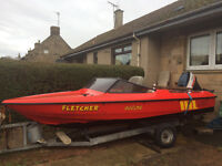 14 ft fletcher arrow speed boat + 55hp engine +fish finder and hand held ship to shore vhf radio