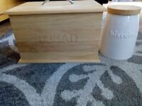WOODEN BREAD BIN & BISCUIT JAR