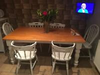 Shabby chic dining table & 6 chairs