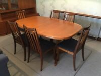 G plan teak extendable Table and eight dining chairs. In very good condition.